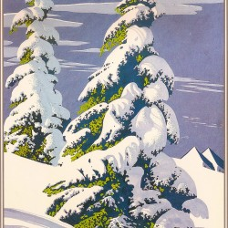 mid century modern christmas illustration Eyvind Earle winter
