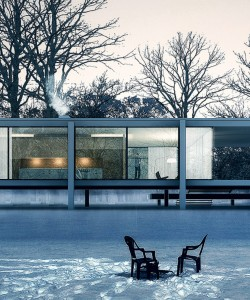 mid century modern winter houses snow icons